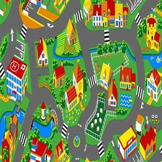 Bil Legetæppe Lille Landsby 140 x 200 cm