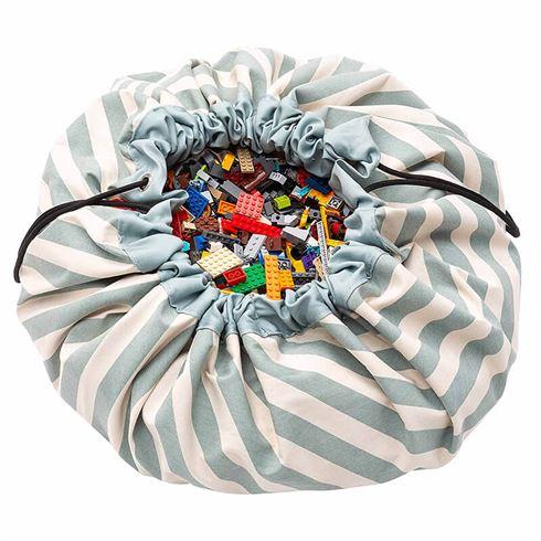 Play & Go Opbevaringspose og legetæppe - Stripes green