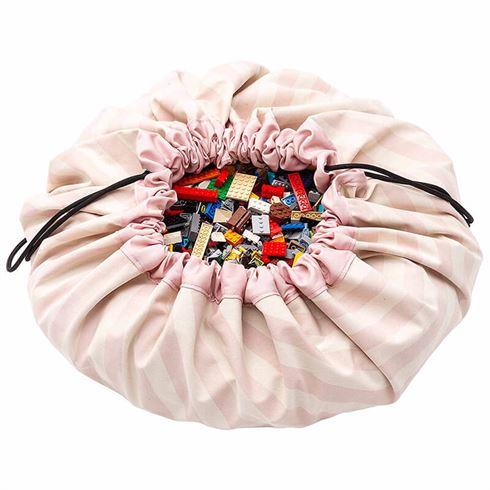Play & Go Opbevaringspose og legetæppe - Stripes pink